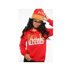 Adapt The Gold Blooded Hoody ($78) ❤ liked on Polyvore featuring tops, hoodies, shirts, outfits, red shirt, gold shirt, hooded pullover, hoodie top and gold hoodies
