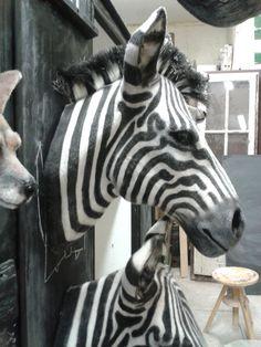 faux taxidermy zebra head animal friendly by brokenhare on etsy