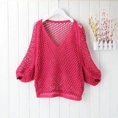Aliexpress.com: Comprar Mujer suéter tejido 2015 verano de corea el nuevo sol flexibilización de mujer cuello redondo manga murciélago Solid Color vaciamiento de punto de suéter ropa fiable proveedores en Guangzhou Bohemian Clothing Limited