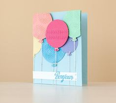 Embossed Balloon Bouquet Card. Make It Now with the Cricut Explore machine and Cuttlebug in Cricut Design Space.
