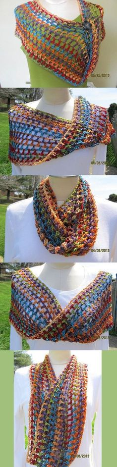 Rainbow Knit Scarf - Chunky In Thread Crochet, Love Crochet, Learn To Crochet, Crochet Scarves, Crochet Shawl, Crochet Yarn, Crochet Clothes, Crochet Stitches, Crochet Patterns