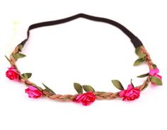 Haarband Haarschmuck Leder geflochten Blumen flower Stirnband HIPPIE ,9 Farben nach Wahl,super schön (gelb): Amazon.de: Schmuck