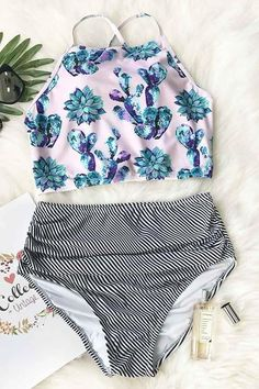 Cute Succulent Plants Floral Bikini Set, BEACH OUTFİTS, Cute Succulent Plants Floral Bikini Set keeps you covered modest and comfortable living an active lifestyle by the water. This sporty style top allows. Bathing Suits For Teens, Summer Bathing Suits, Swimsuits For Teens, Cute Bathing Suits, Cute Swimsuits, Cute Bikinis, Summer Outfits, Cute Outfits, Floral Bikini Set
