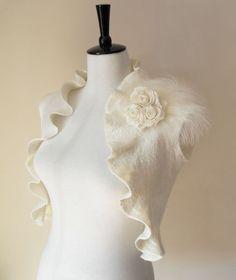 Bridal Bolero Shrug Ivory White Wedding Bolero Jacket Shawl Wrap Wool silk Felted with Rose Flowers & Feather Bride Bolero Special Occasion. £82.00, via Etsy.