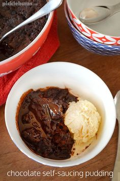 Chocolate self-saucing pudding - a warm gooey chocolate cake with magic chocolate sauce baked right into it!