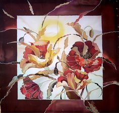 Flowers silk painting by RedHelga on Etsy, €200.00