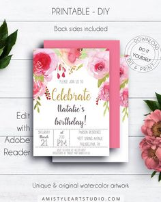 Pink And Gold Birthday Invitation Editable Party Adult Bl