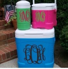 Monogrammed cooler and water jug. What a fabulous idea! Pricing for 1 up to 3 monogram initials vinyl stickers are: 3x3 $6.00, 4x4 $6.50, 4.5x4.5 $7.00, 5x5 $8.00