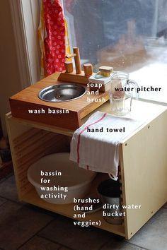 Montessori ici: Closer look at the hand washing station Montessori Baby, Maria Montessori, Montessori Education, Montessori Classroom, Montessori Materials, Montessori Activities, Toddler Activities, Montessori Bedroom, Baby Education