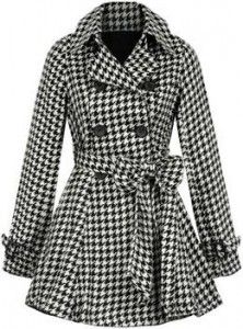 pleated houndstooth Victoria coat and other apparel, accessories and trends. Browse and shop 12 related looks. Houndstooth Coat, Cute Coats, Casual Outfits, Fashion Outfits, Double Breasted Coat, Wool Coat, What To Wear, My Style, Jackets