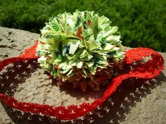 Red & Green Flowery infant/toddler spikey pom by SewGurlyBowtique, $6.00