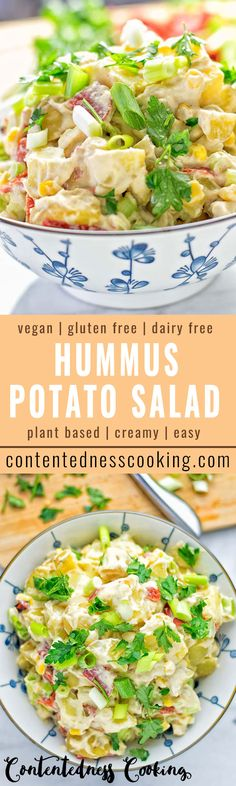 Easy to make and super tasty: Hummus Potato Salad. Naturally vegan and gluten free. Full of crunchy vegetables and fresh herbs, it is made nut-free with hummus instead of mayo.