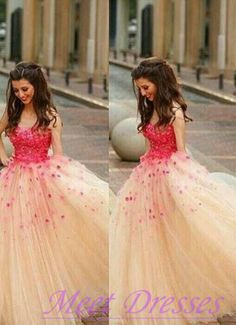 Charming Ball Gown Champagne Tulle Long Prom Dress