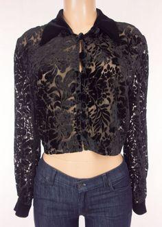 JOSEPH RIBKOFF Creations Jacket Size M Medium Black Crop Floral Velvet Evening #JosephRibkoff #BasicJacket