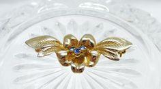New to MyVtgJewelryShop on Etsy: Flower Brooch Long pin Signed Blue Rhinestone (9.00 USD)