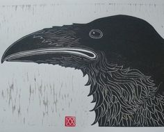 Raven (Woodblock Print) ~ Artist: Viza Arlington