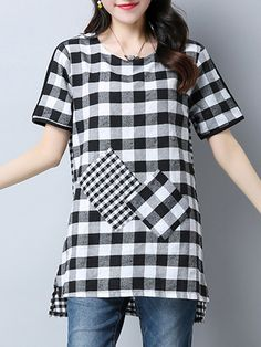 Specifications Product Name: High-Low Plaid Patch Pocket Short Sleeve T-Shirt Weight: 200(g) Season: Summer Sleeve: Short Sleeve Material: Cotton/linen Embellishment: Patch Pocket Pattern Type: Plaid Occasion: Casual / Vacation Package Included: Top / 1 Collar&neckline: Round Neck Size chart as a reference: Waist Sleeve Length Shoulder Front Length Bust Back Length m Inchcm 40102 923 1641 2974 39100 3281 l Inchcm 41104 924 1742 3075 40102 3282 xl Inchcm 42106 1025 1743 3076 41104 3383 xxl…