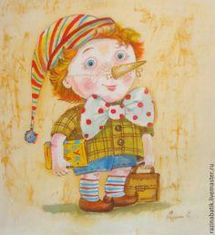 Купить Детки-конфетки.Буратино. - бежевый, буратино, сказка, Праздник, детский сад, Батик, детство