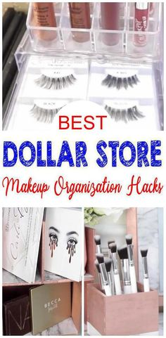 9 Dollar Store Makeup Organization Hacks That Are Borderline Genius. Dollar Store organizing for your makeup and beauty supplies. Great for makeup rooms, bedroom, bathroom, vanity Diy Makeup Organizer, Storage Ideas, Diy Storage, Bathroom Organization, Organization Store, Cheap Storage, Small Storage, Budget Storage, Ideas