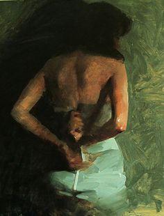 Artist: Mark Tennant {contemporary figurative #expressionist female back woman smudged painting} marktennantart.com