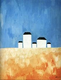 Landscape with Five Houses - Kazimir Malevich