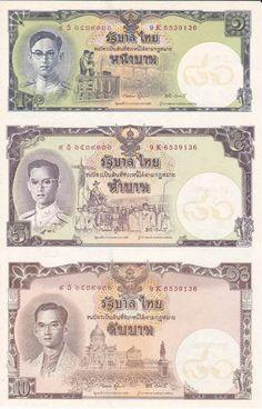 B33-1 ธนบัตรที่ระลึกเฉลิมพระเกียรติเนื่องในโอกาสมหามงคลเฉลิมพระชนมพรรษา 80 พรรษา 5 ธันวาคม 2550 ชนิดราคา 1 บาท, 5 บาท, 10 บาท (ไม่ตัดเป็นรายฉบับ ) ลายน้ำรูปรัฐธรรมนูญประดิษฐ์เหนือพานแว่นฟ้า ภายในวงกลมสีขาว และมีเลขไทย 80 ปีบนลายน้ำด้วย สภาพใหม่เอี่ยม 100 เปอร์เซ็นต์ ขายยกชุดราคา 800 บาท