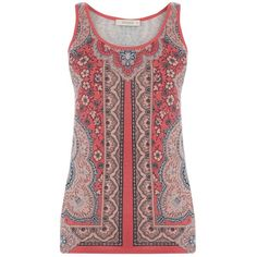 Oasis Rhianna Paisley Vest Top, Orange ($23) ❤ liked on Polyvore featuring tops, orange top, orange tank, pattern tank top, paisley top and print top