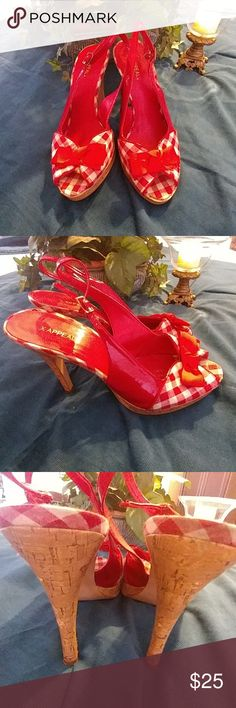 Rockabilly style heels with red Checkers and a bow Red and white checkers with a bow in the front peep-toe Shoes Heels