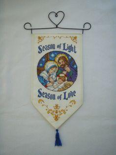 Cross Stitched SEASON of LIGHT NATIVITY Christmas Banner. $45.00, via Etsy.