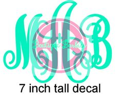 DIY monograms! Perfect for Cars, Dorms, Clipboards... ANYTHING! Other sizes available! 7 inch tall Solid Glitter or Chevron Vinyl by BoutiqueBarbier, $11.00