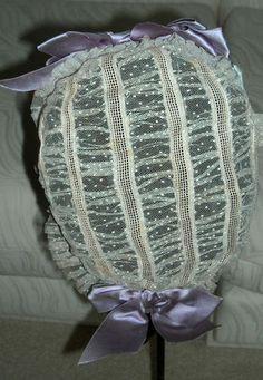 Stunning Civil War Era Headdress 1860s Sheer Dotted Net Indoor Bonnet Silk Bows | eBay