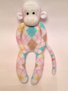 Socken+Affe+/+Sock+Monkey+/+Kuscheltier+-+Kariert+von+Monkey+Business+auf+DaWanda.com
