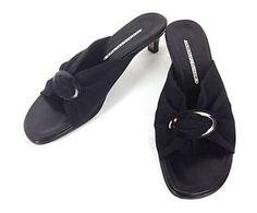 DONALD-J-PLINER-Shoes-LEATHER-Mesh-BLACK-Slip-On-KITTEN-Heels-SANDALS-Womens-8-M