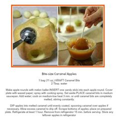 Bite sized caramel apples - Also saw these with pretzel sticks in place of the sucker sticks.