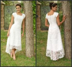 Scoop tea length lace casual dress short sleeve wedding dress Stunning!