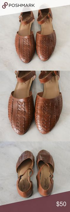 Vintage Brown Leather Basket-Weave Flats Adorable vintage basket-weave flats with an ankle strap. Perfect for spring and summer outfits! These are in excellent used condition, with minimal signs of wear on the soles and a few small marks on the leather on the heels.  The brand is Truffles, and they have a lightly padded foot-bed. Vintage size 9, they run slightly narrow. Approx. 10 1/4 inches from heel to toe.   Price is negotiable, feel free to make an offer! Vintage Shoes Flats & Loafers