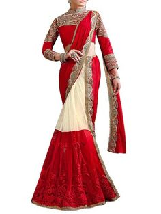 8478f928c0 Buy Lehenga Net Saree Commingled With Red Colour Perfect For Parties  Decorated With Pearl Work