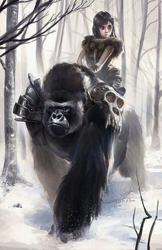 Gorilla and girl