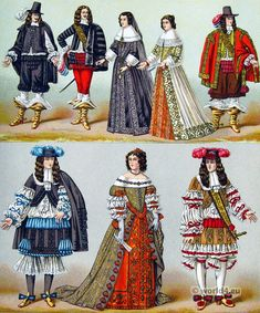 French Costumes of the nobility 1646 to 1670 | Costumes and ...