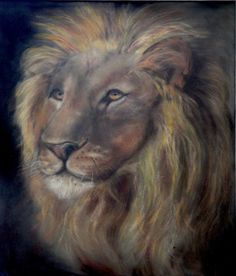 'King of the Jungle' by Magee Johnson. Pastel on Velour 500mm x 350mm
