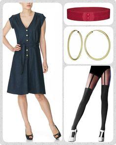 De über cool suspender tights fra Pretty Polly er endelig på lager igen. Brug dem til den fine Christel kjole i mørk denim og dress hele looket op med et rødt Waist elastikbælte. Prikken over i'et er de populære forgyldte hoop øreringe.