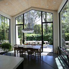 Jada Windows thermally broken steel glass wall with swing doors. #JadaSteelWindow