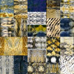 composite of the wide variety of marks that can be made with shibori rusting - Pat Vivod