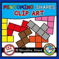 #PENTOMINO #SHAPES #CLIPART  (132 IMAGES) These #images can be used for a wide range of activities! The possibilities are endless! They are ideal to be used for #geometry and #spatial skills, #perimeter, 10more, 10 less, 1 more, 1 less, etc! #MATH