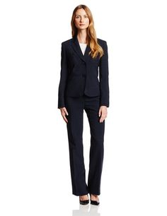 Le Suit Women's 2 Button Seamed Waist Jacket and Pant Suit Set