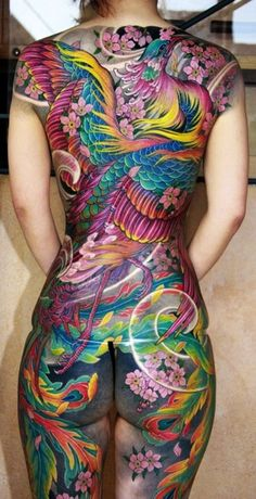 Colorful flying phoenix watercolor full body Tattoos - sakura, leaves, feather wings - OMG!! Full body tattoo by Eartha