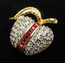 Juicy Vintage Pave Set Crystal Rhinestone Butler Apple Fruit Pin from Vintage Jewelry Girl! #vintagejewelry