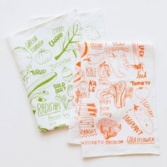 Vegetable tea towels from Poketo - how fun!