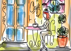 """Illustration of a woman enjoying her """"me time""""  in an elegant cafe"""