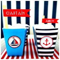 Nautical Party {Bird's Party} Fill these with popcorn - his favorite!